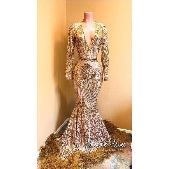 be33bfc4 Jasmine Renee Dresses | Gold Sequin Prom Dress | Poshmark